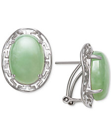 Dyed Jadeite (10 x 14mm) Greek Key Oval Drop Earrings in Sterling Silver