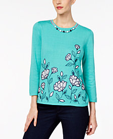 Alfred Dunner Montego Bay Petite Beaded Embroidered Sweater