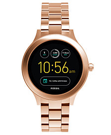 Fossil Q Women's Venture Gen 3 Rose Gold-Tone Stainless Steel Bracelet Touchscreen Smart Watch 42mm