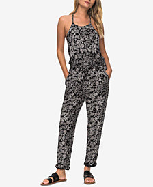 Roxy Juniors' Printed T-Back Jumpsuit