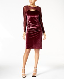 INC International Concepts Velvet Cutout Illusion Dress Created For Macys
