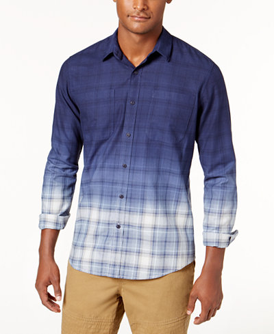 American Rag Men's Dip Dyed Plaid Shirt, Created for Macy's