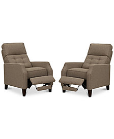 Elora Fabric Push Back Recliner, Set of 2