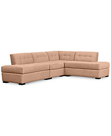 Roxanne II Performance Fabric 4-Pc. Modular Sofa with Double Bumper Chaise: Custom Colors, Created for Macy's