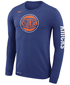 Nike Men's New York Knicks Dri-FIT Cotton Logo Long Sleeve T-Shirt