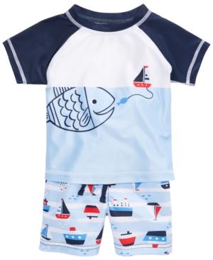 First Impressions 2Pc Fish Rash Guard  Sailboat Swim Trunks Set Baby Boys (024 months) Created for Macys