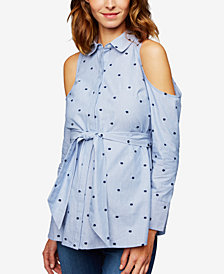 A Pea In The Pod Maternity Polka-Dot Cold-Shoulder Shirt