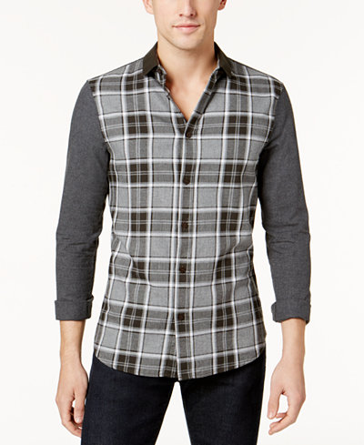 Armani Exchange Men's Solid-Sleeve Plaid Stretch Shirt