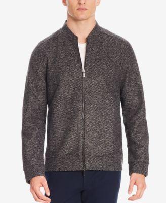 WNSY Men Slim Fit Quarter Zipper Striped Stand Collar Pullover Sweater