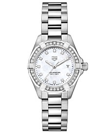 TAG Heuer Women's Swiss Aquaracer Diamond (1/2 ct. t.w.) Stainless Steel Bracelet Watch 27mm
