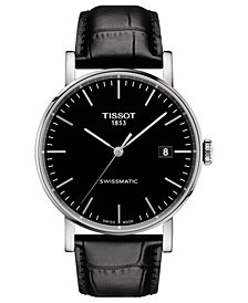 Tissot Men's Swiss Automatic Everytime Swissmatic Black Leather Strap Watch 40mm