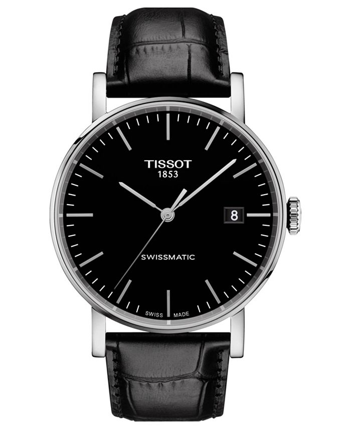 Tissot - Men's Swiss Automatic Everytime Swissmatic Black Leather Strap Watch 40mm