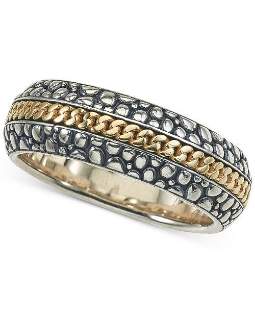 Esquire Men's Jewelry Two-Tone Textured Band in Sterling Silver & 14k Gold, Created for Macy's