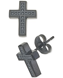 Men's Diamond Cross Earrings (1/10 ct. t.w.) in Black Ion-Plated Stainless Steel
