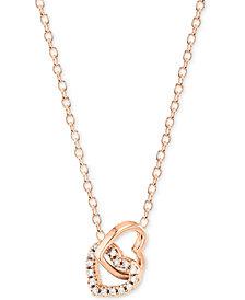 Unwritten Cubic Zirconia Double Heart Pendant Necklace
