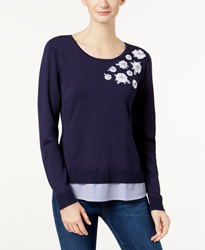 Charter Club Appliqué Layered-Look Sweater, Created for Macy's