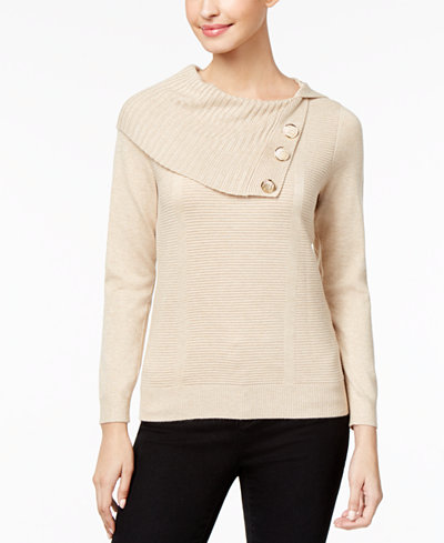 NY Collection Petite Split Cowl-Neck Sweater - Sweaters - Petites ...