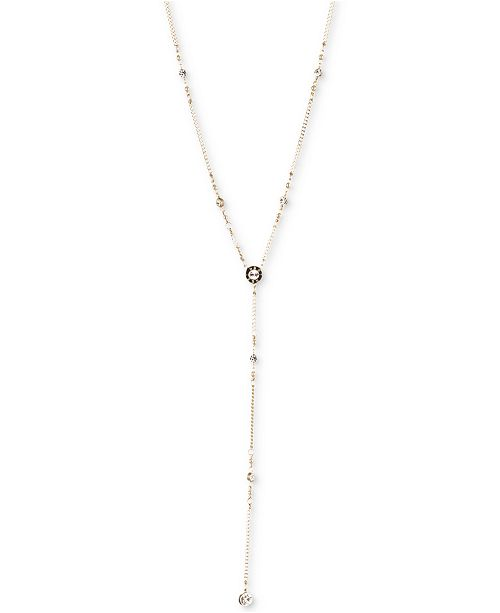 DKNY Logo Crystal Station Y-Necklace, Created for Macy's