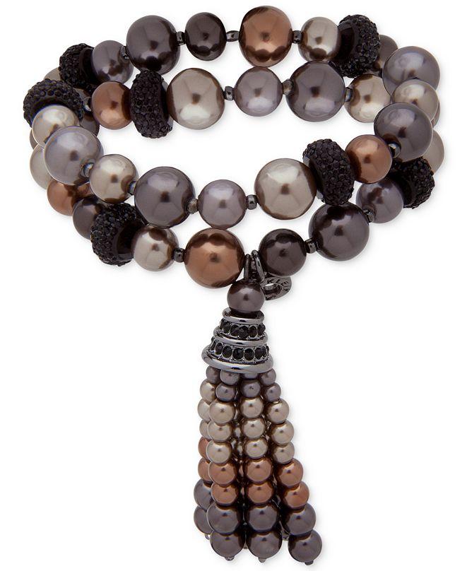 Anne Klein Hematite-Tone Jet Pavé Bead & Colored Imitation Pearl Tassel Double-Row Stretch Bracelet