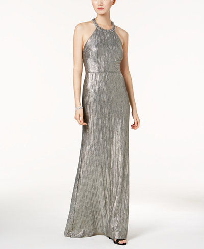 Adrianna Papell Embellished Metallic Gown