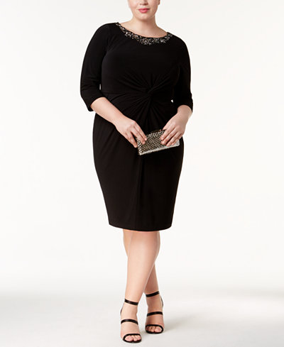Alex Evenings Plus Size Embellished Twist-Front Dress