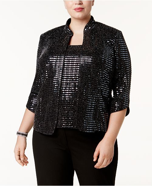 966bef719cb Alex Evenings Plus Size Sequined Jacket   Shell   Reviews - Jackets ...
