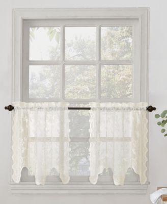 """No. 918 Alison Floral Lace 58"""" x 24"""" Rod-Pocket Kitchen Curtain Tier Pair"""