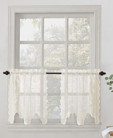 "Alison Floral Lace 58"" x 24"" Rod-Pocket Tier Curtain Pair"