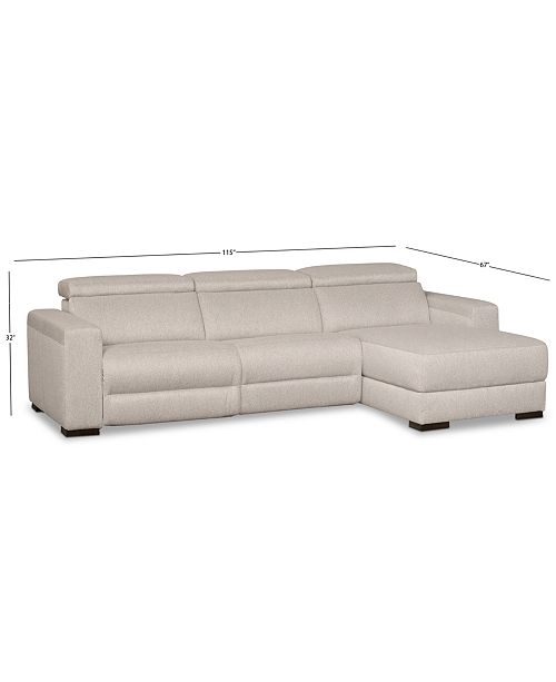 Furniture Nevio 3 Pc Fabric Sectional Sofa With Chaise 1 Power Recliner And Articulating
