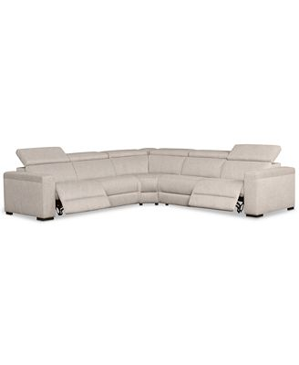 Furniture Nevio 5 Pc Fabric L Shaped Sectional Sofa With 2 Power