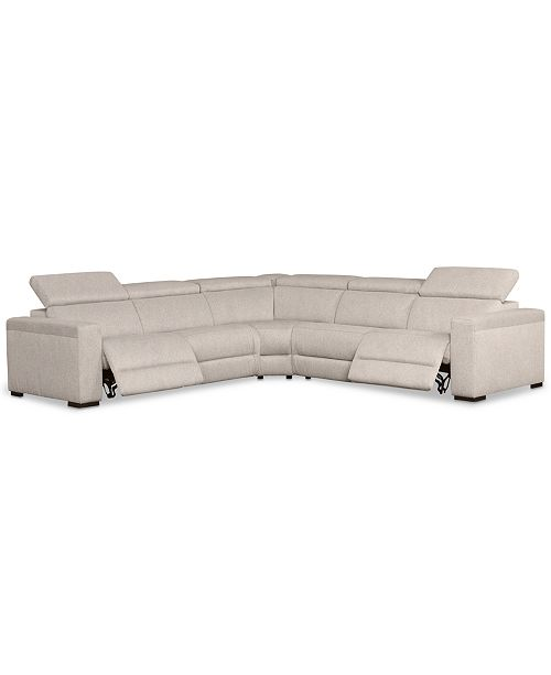 """Furniture Nevio 5-Pc. Fabric """"L"""" Shaped Sectional Sofa with 2 Power Recliners and Articulating Headrests, Created for Macy's"""