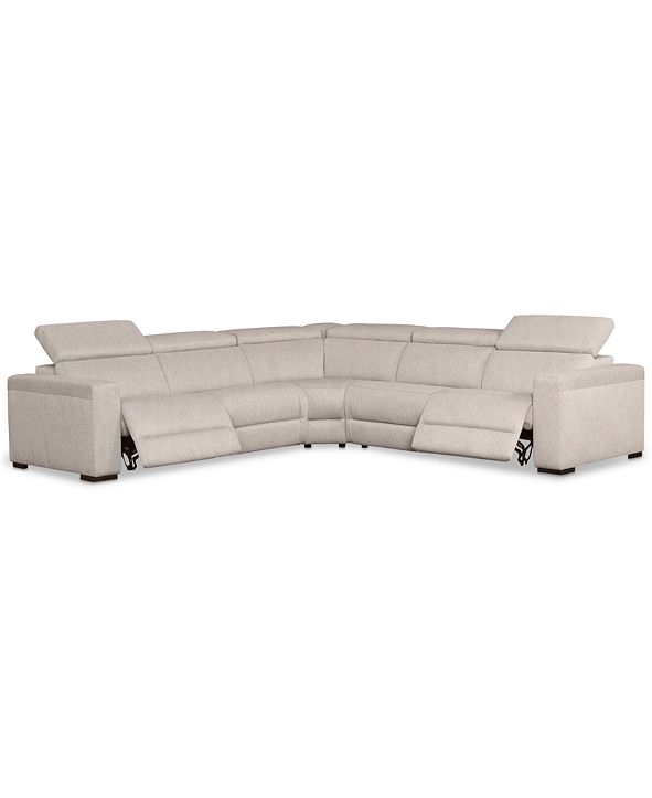 "Furniture Nevio 5-Pc. Fabric ""L"" Shaped Sectional Sofa with 2 Power Recliners and Articulating Headrests, Created for Macy's"