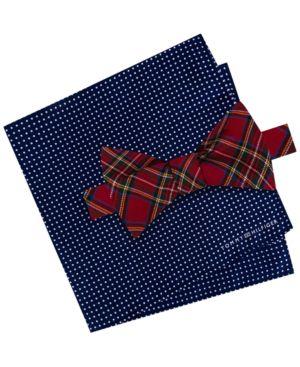Tommy Hilfiger Men's Plaid Pre-Tied Silk Bow Tie & Dot Silk Pocket Square Set thumbnail