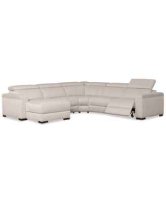 Nevio 5-Pc. Fabric Sectional Sofa with Chaise, 1 Power Recliner and Articulating Headrests, Created for Macy's
