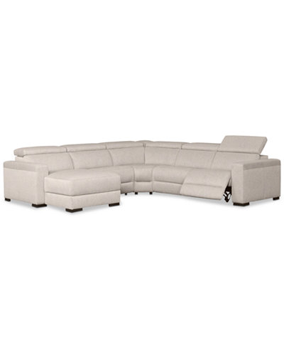 Nevio Pc Fabric Sectional Sofa With Chaise Power Recliner And - Fabric sectional sofa with recliner