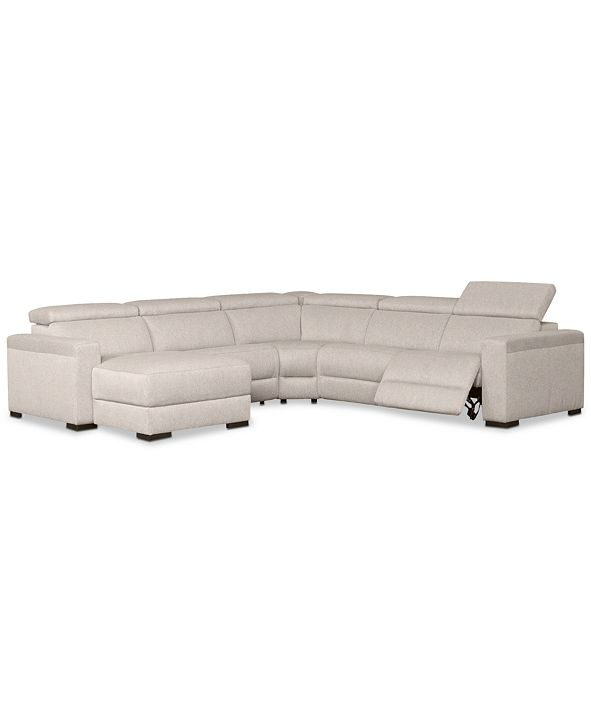 "Furniture Nevio 124"" 5-Pc. Fabric Sectional Sofa with Chaise, 1 Power Recliner and Articulating Headrests, Created for Macy's"