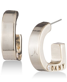"DKNY Logo 1/2"" Huggie Hoop Earrings, Created for Macy's"
