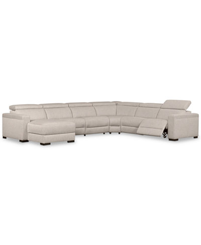 Nevio 6 pc fabric sectional sofa with chaise 1 power for Cody fabric 6 piece chaise sectional sofa with 1 power recliner
