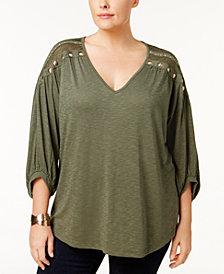 Love Scarlett Plus Size Lace-Yoke Studded Top