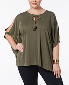 Love Scarlett Plus Size Kimono-Sleeve Cold-Shoulder Top