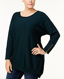 Love Scarlett Plus Size Zipper-Back Tunic Sweater