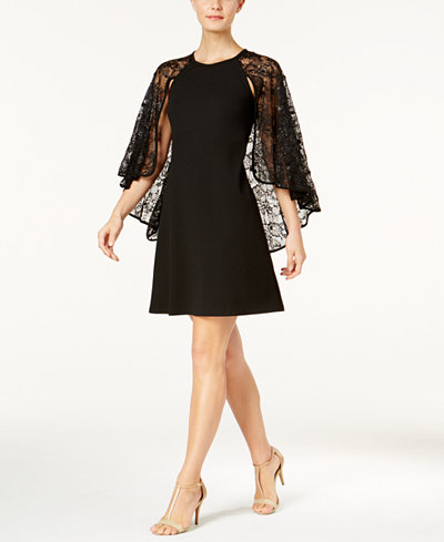 Calvin Klein Sequined Lace Capelet Dress, Regular & Petite