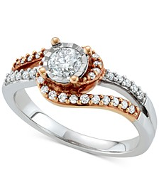 Diamond Two-Tone Engagement Ring (5/8 ct. t.w.) in 14k White & Rose Gold