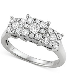 Diamond Triple Cluster Ring (1 ct. t.w.) in 14k White Gold
