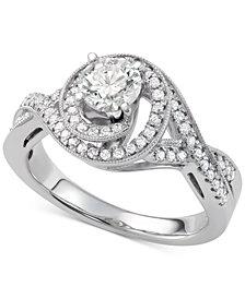 Diamond Swirl Halo Engagement Ring (1-1/10 ct. t.w.) in 14k White Gold
