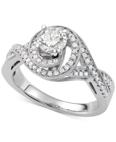 diamond swirl halo engagement ring 1 110 ct tw in macys - Macys Wedding Rings