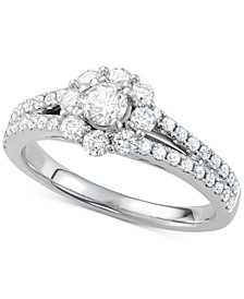 Diamond Floral Cluster Engagement Ring (7/8 ct. t.w.) in 14k White Gold
