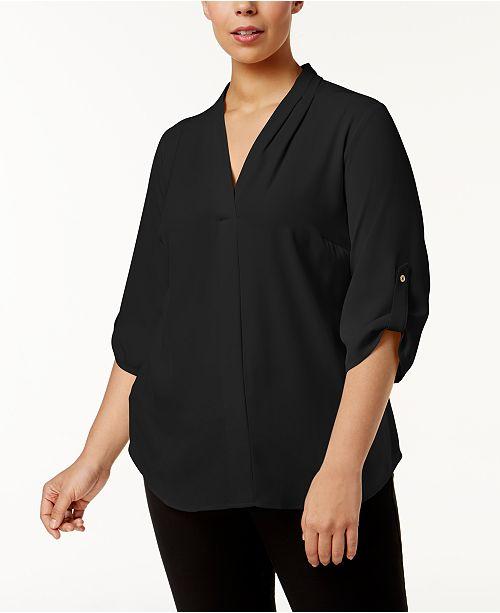 f625b77931b0e Calvin Klein Plus Size Pleated-Neck Blouse   Reviews - Tops - Plus ...