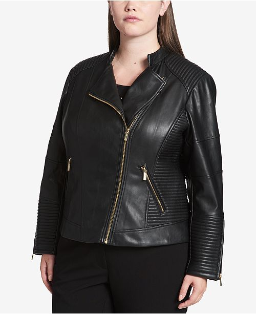 735e2ad259a Calvin Klein Plus Size Faux-Leather Moto Jacket   Reviews - Jackets ...