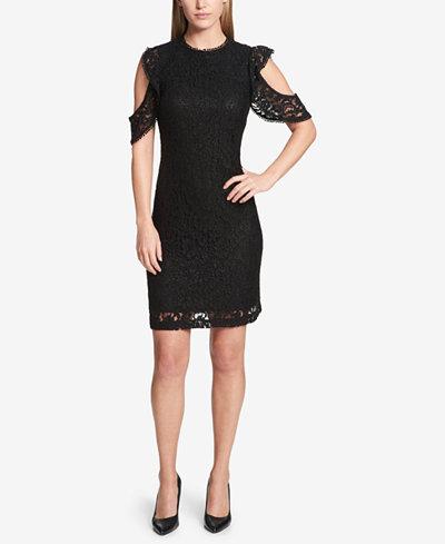 Tommy Hilfiger Cold-Shoulder Lace Dress